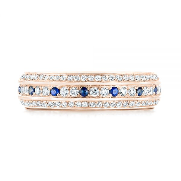 18k Rose Gold 18k Rose Gold Custom Blue Sapphire And Diamond Eternity Wedding Band - Top View -  102798