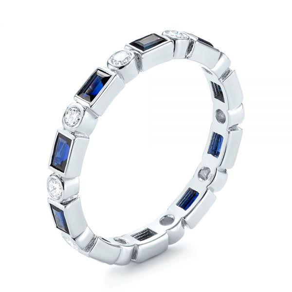 Custom Blue Sapphire and Diamond Eternity Wedding Band - Image