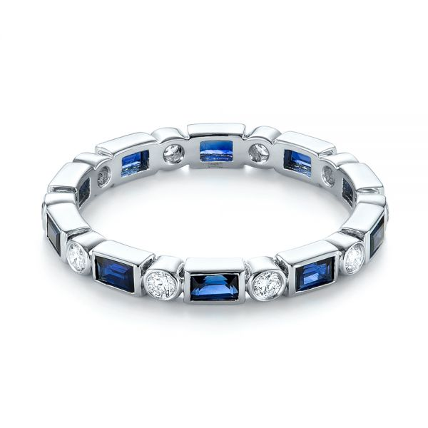 18k White Gold 18k White Gold Custom Blue Sapphire And Diamond Eternity Wedding Band - Flat View -  103217
