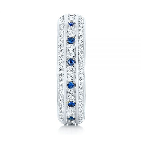 Platinum Custom Blue Sapphire And Diamond Eternity Wedding Band - Side View -