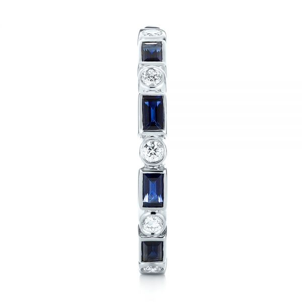 18k White Gold 18k White Gold Custom Blue Sapphire And Diamond Eternity Wedding Band - Side View -  103217