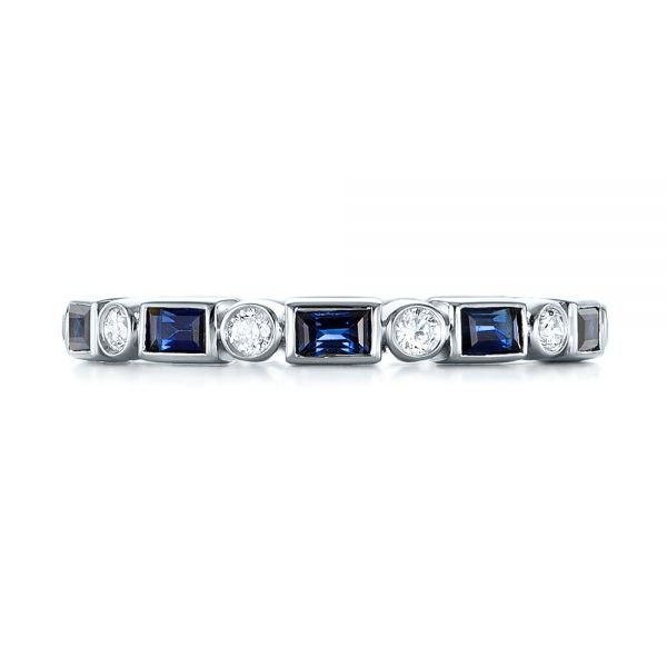 18k White Gold 18k White Gold Custom Blue Sapphire And Diamond Eternity Wedding Band - Top View -  103217