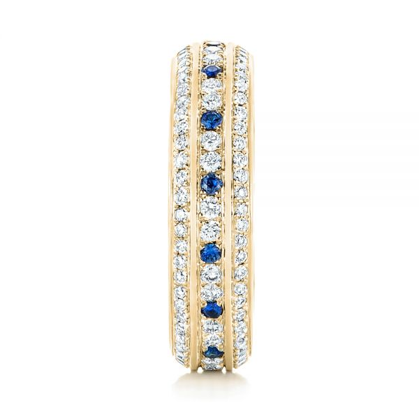 14k Yellow Gold 14k Yellow Gold Custom Blue Sapphire And Diamond Eternity Wedding Band - Side View -  102798