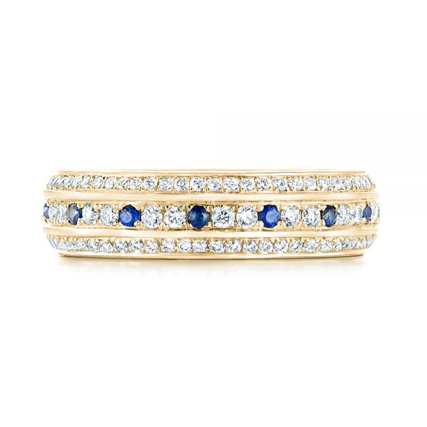 14k Yellow Gold 14k Yellow Gold Custom Blue Sapphire And Diamond Eternity Wedding Band - Top View -  102798