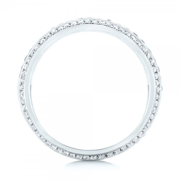 Custom Blue Sapphire and Diamond Eternity Wedding Band - Finger Through View