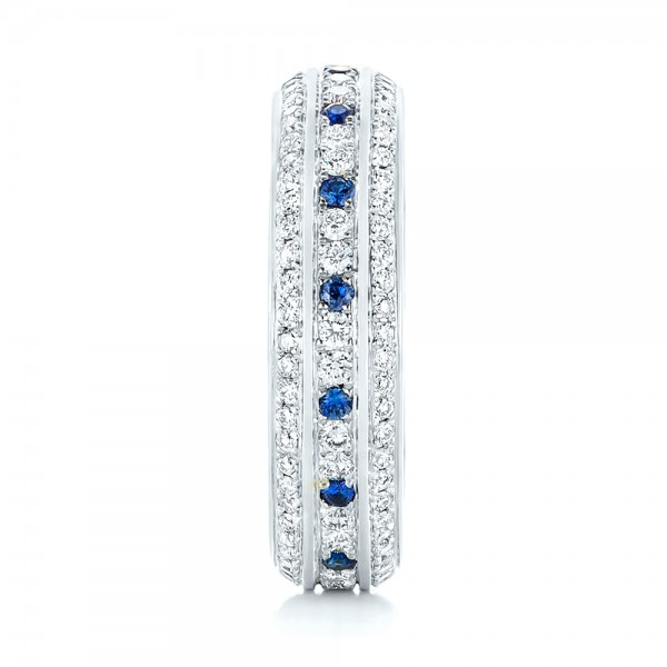 Custom Blue Sapphire and Diamond Eternity Wedding Band - Side View