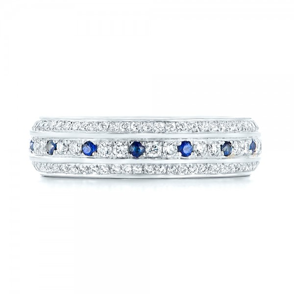 Custom Blue Sapphire and Diamond Eternity Wedding Band - Top View