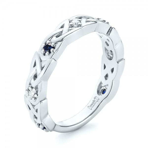 Custom Blue Sapphire and Diamond Wedding Band