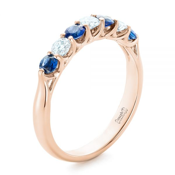 18k Rose Gold 18k Rose Gold Custom Blue Sapphire And Diamond Wedding Band - Three-Quarter View -