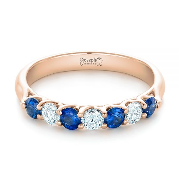 18k Rose Gold 18k Rose Gold Custom Blue Sapphire And Diamond Wedding Band - Flat View -