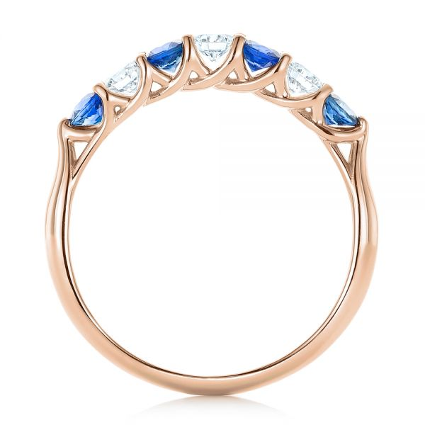 18k Rose Gold 18k Rose Gold Custom Blue Sapphire And Diamond Wedding Band - Front View -