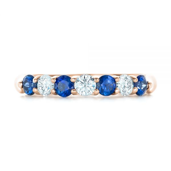 18k Rose Gold 18k Rose Gold Custom Blue Sapphire And Diamond Wedding Band - Top View -