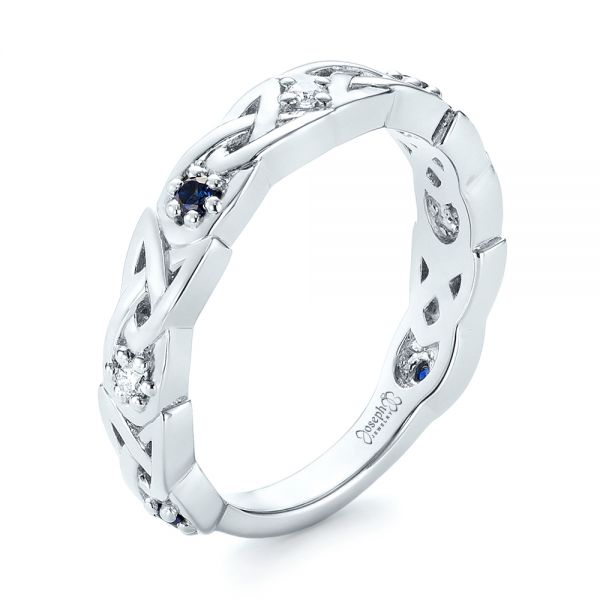 Platinum Custom Blue Sapphire And Diamond Wedding Band - Three-Quarter View -