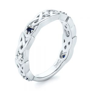 Custom Blue Sapphire and Diamond Wedding Band