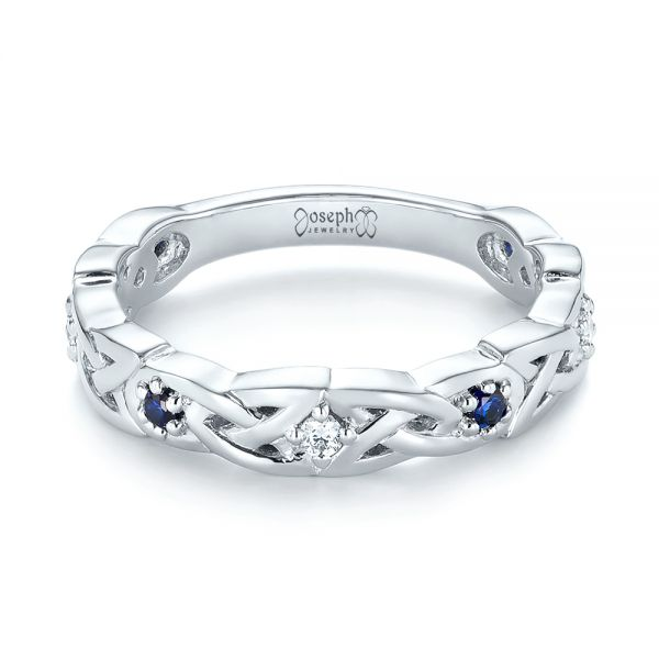 Platinum Custom Blue Sapphire And Diamond Wedding Band - Flat View -