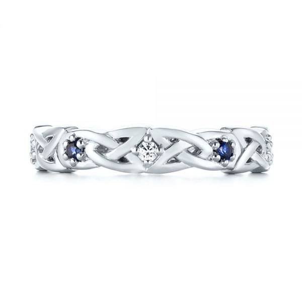 Platinum Custom Blue Sapphire And Diamond Wedding Band - Top View -