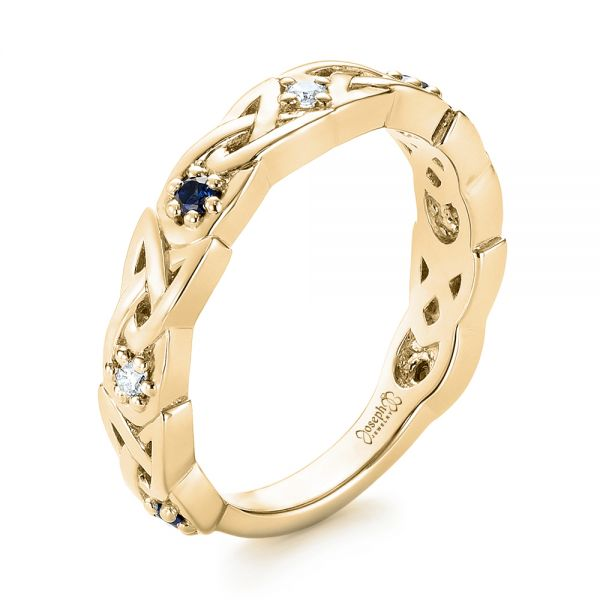 18k Yellow Gold 18k Yellow Gold Custom Blue Sapphire And Diamond Wedding Band - Three-Quarter View -