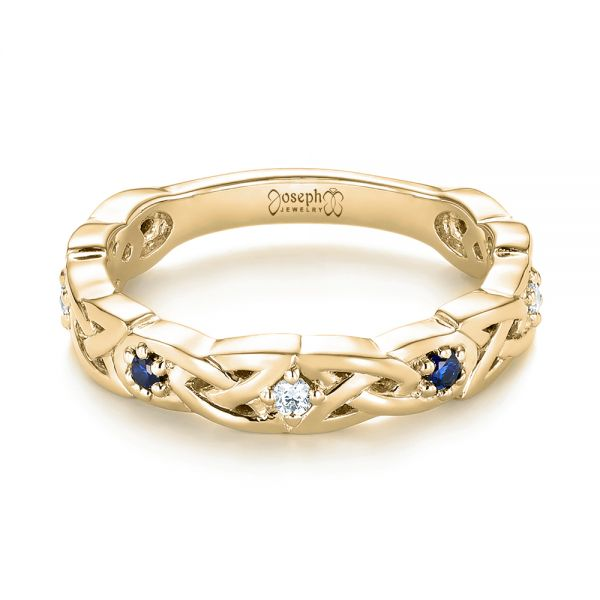 18k Yellow Gold 18k Yellow Gold Custom Blue Sapphire And Diamond Wedding Band - Flat View -