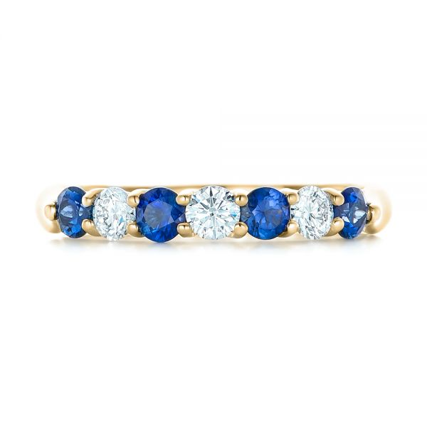 14k Yellow Gold 14k Yellow Gold Custom Blue Sapphire And Diamond Wedding Band - Top View -