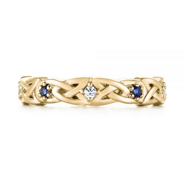 18k Yellow Gold 18k Yellow Gold Custom Blue Sapphire And Diamond Wedding Band - Top View -