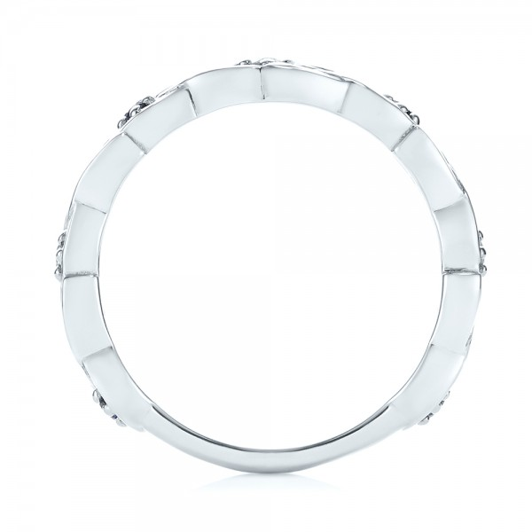 Custom Blue Sapphire and Diamond Wedding Band - Finger Through View