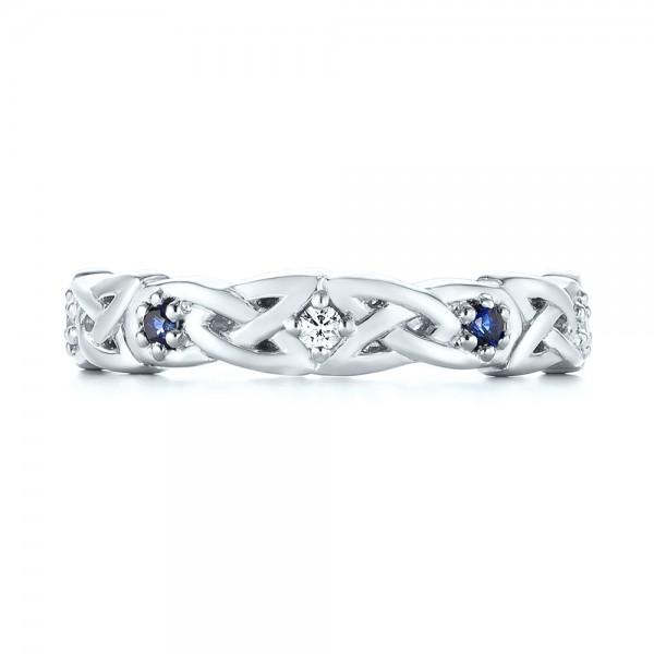 Custom Blue Sapphire and Diamond Wedding Band - Top View