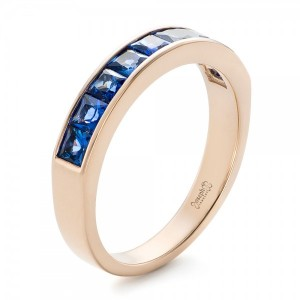 Custom Blue Sapphire and Rose Gold Wedding Band