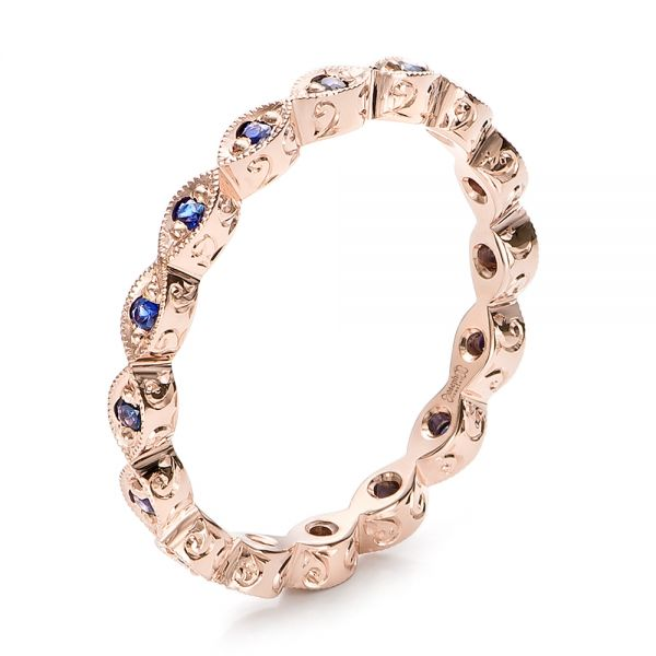 14k Rose Gold Custom Blue Sapphire Wedding Band - Three-Quarter View -