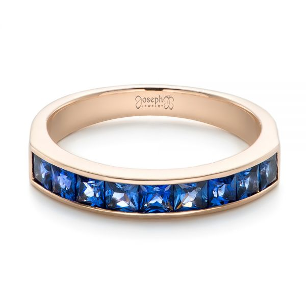 14k Rose Gold Custom Blue Sapphire Wedding Band - Flat View -
