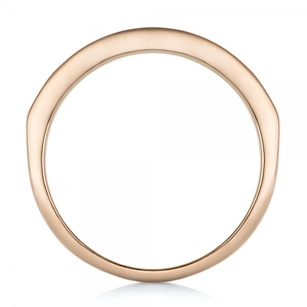Custom Blue Sapphire and Rose Gold Wedding Band - Finger Through View