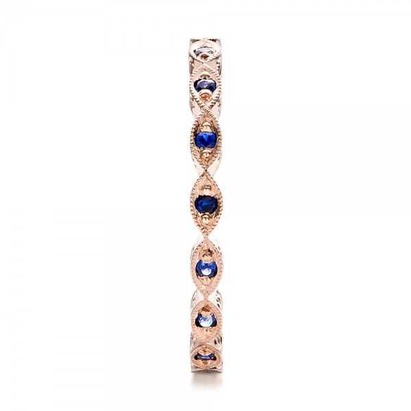 Custom Blue Sapphire and Rose Gold Wedding Band - Side View -  100884 - Thumbnail