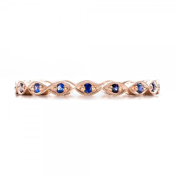 Custom Blue Sapphire and Rose Gold Wedding Band - Top View -  100884 - Thumbnail