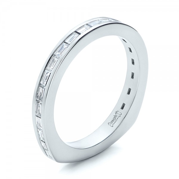Custom Channel Set Baguette Diamond Wedding Band - 3/4 View