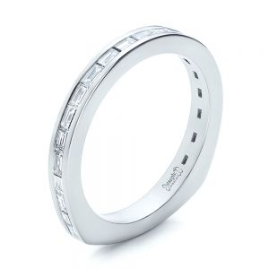 Custom Channel Set Baguette Diamond Wedding Band - Image