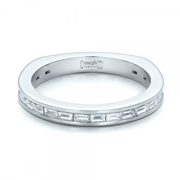 Custom Channel Set Baguette Diamond Wedding Band - Laying View