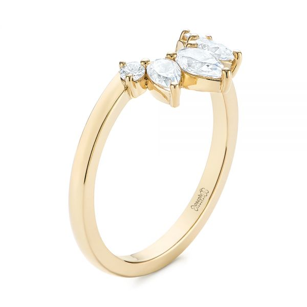 Custom Contoured Pear Diamond Wedding Ring - Image