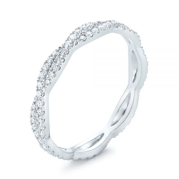 14k White Gold Custom Criss Cross Diamond Wedding Band - Three-Quarter View -
