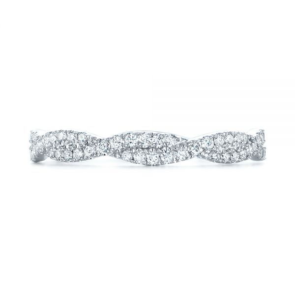 14k White Gold Custom Criss Cross Diamond Wedding Band - Top View -