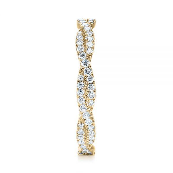 18k Yellow Gold Custom Criss Cross Diamond Wedding Band 104743