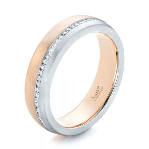 Custom Diamond Eternity Two-Tone Wedding Band - Image