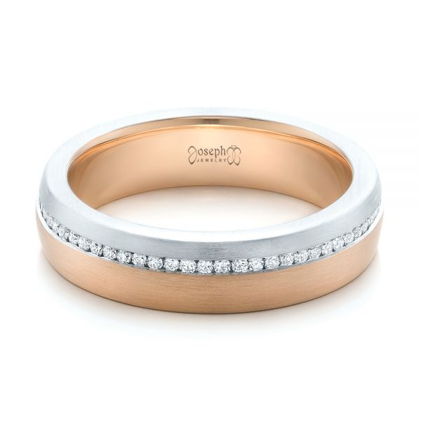 Custom Diamond Eternity Two-Tone Wedding Band - Flat View -  102133 - Thumbnail
