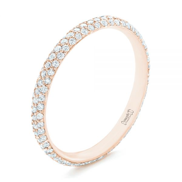 14k Rose Gold 14k Rose Gold Custom Diamond Eternity Wedding Band - Three-Quarter View -