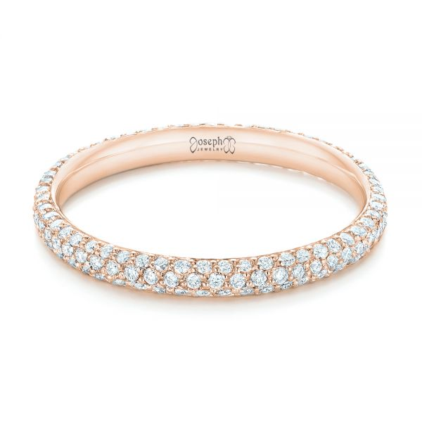 14k Rose Gold 14k Rose Gold Custom Diamond Eternity Wedding Band - Flat View -