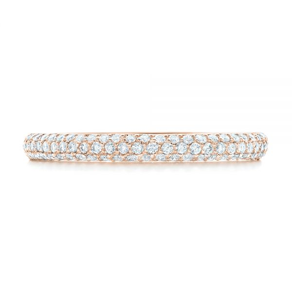 14k Rose Gold 14k Rose Gold Custom Diamond Eternity Wedding Band - Top View -