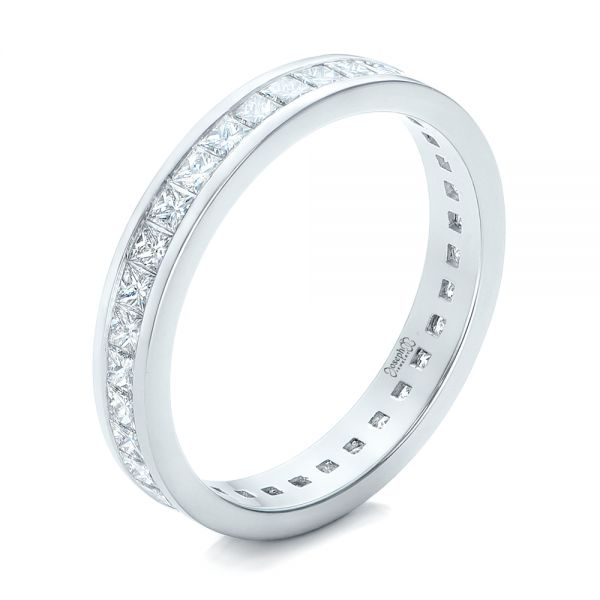 Custom Diamond Eternity Wedding Band - Three-Quarter View -  102096 - Thumbnail