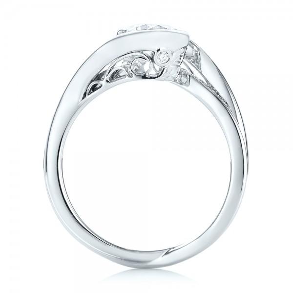 Custom Diamond Jacket Wedding Band - Finger Through View