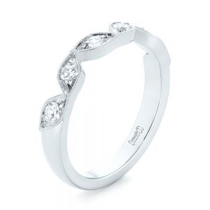Custom Diamond Marquise Shaped Wedding Ring - Image
