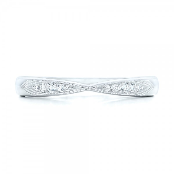 Diamond Notched Wedding Band - Top View