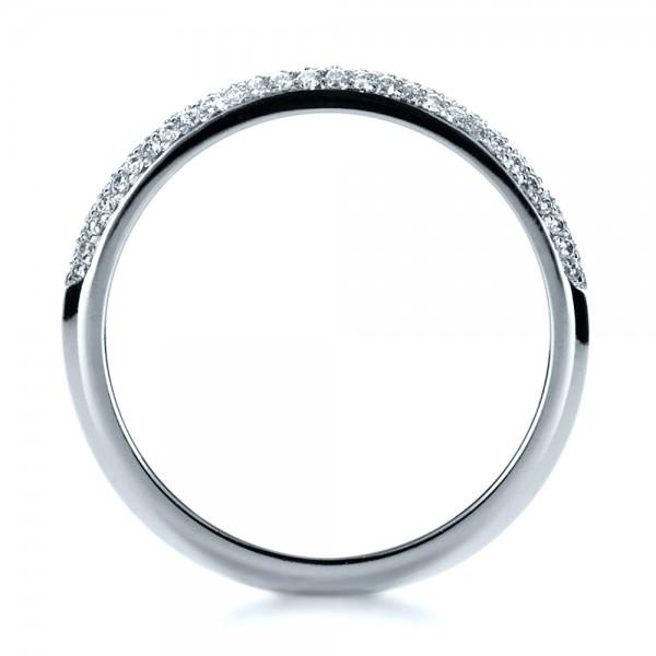 Custom Diamond Pave Engagement Band - Finger Through View