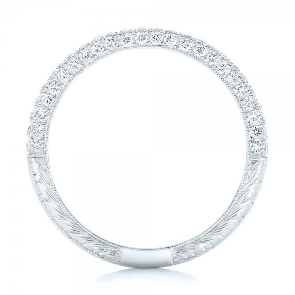 Diamond Pave Wedding Band - Finger Through View